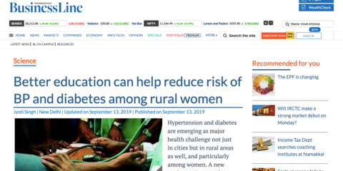 Better education can help reduce risk of BP and diabetes among rural women