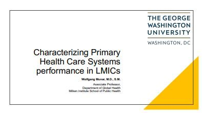 Improving performance of Primary Health Care systems in LMICs